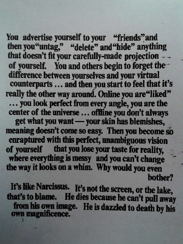 The Narcissus Effect. From Adbusters (Jan 25 2014)