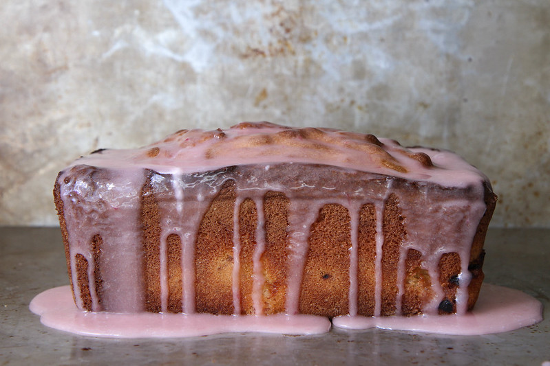 Lemon Rhubarb Ricotta Pound Cake with Rhubarb Glaze
