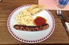 Bratwurst mit Kartoffelsalat / Fried sausage with potato salad