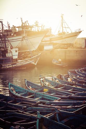 Beautiful Blue Boats in Essaouira, Morocco
