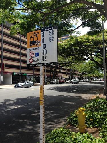 bus stop, Kapiolani Bl + Piikoi St