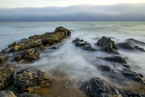 california beach fog evening rocks surf day unitedstates ranchopalosverdes trumpgolfcourse