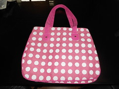 bag, pattern, textile, magenta, handbag, polka dot, tote bag, design, pink,