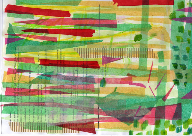 A Green tissue paper collage