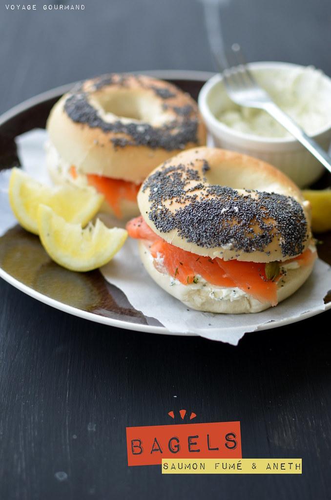 Bagels au saumon, aneth et câpres
