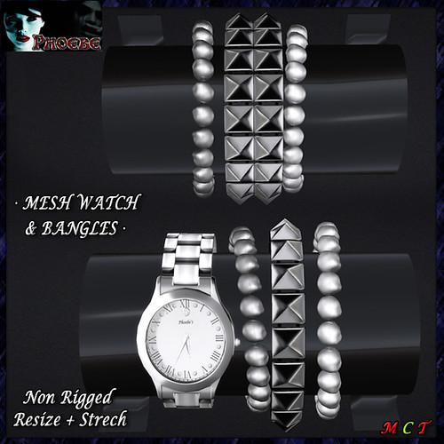 *P* Zayda Mesh Watch & Bangles ~Silver~