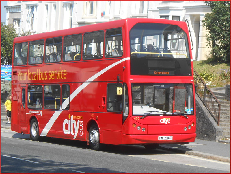 Plymouth Citybus Volvo B7TL 403 PN02XCE is seen outside Plymouth High School for Girls.