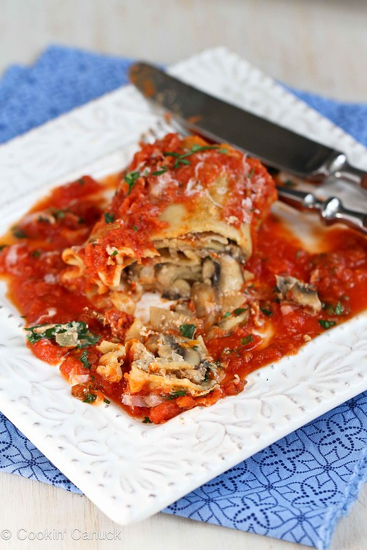 Kale, Mushroom & Sun-Dried Tomato Lasagna Rolls Recipe {Vegetarian} | cookincanuck.com #recipe #vegetarian