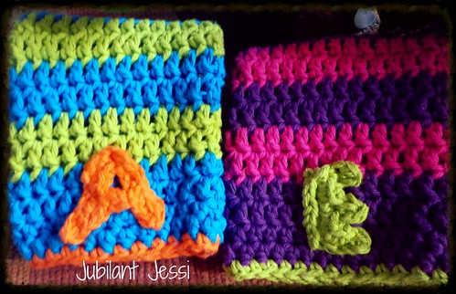 crocheted letters of their first names... cute!