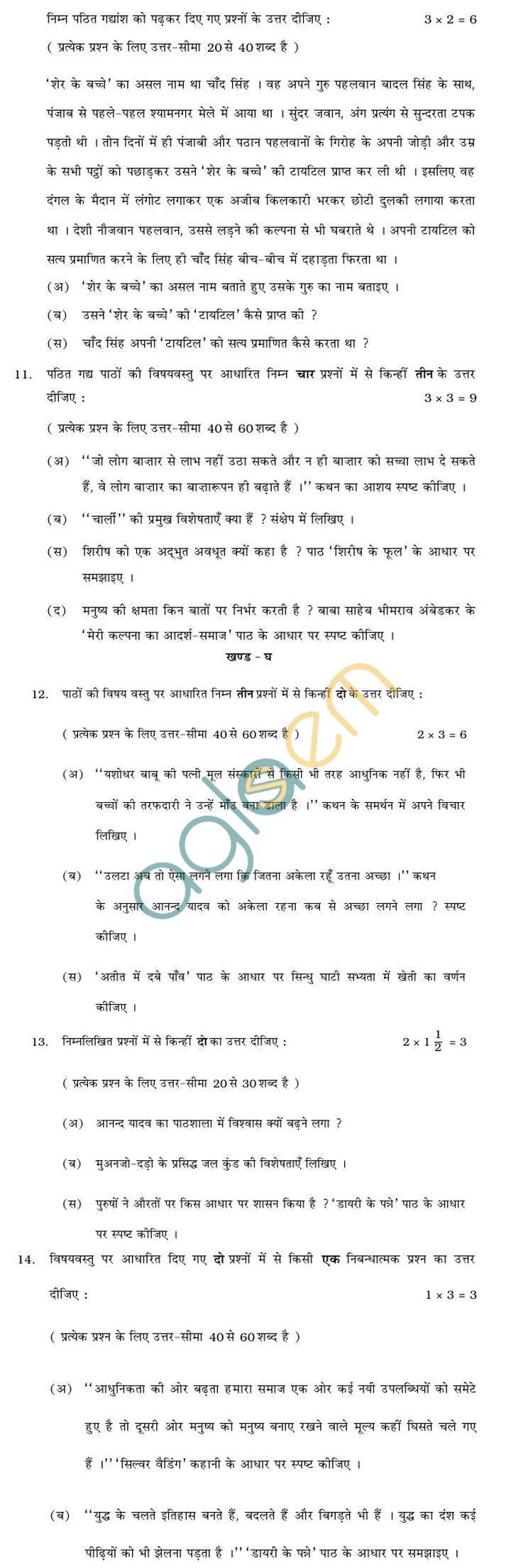 Rajasthan Board Sr. Secondary Hindi (C) Question Paper 2013