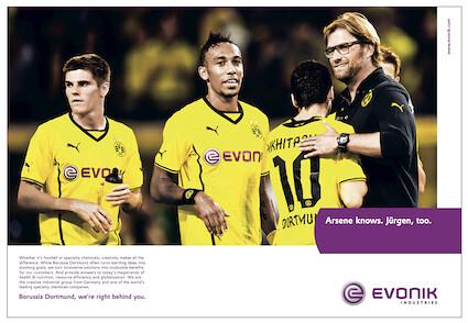 Evonik-Anzeige zum Champions League-Spiel von Borussia Dortmund gegen Arsenal London (klein)