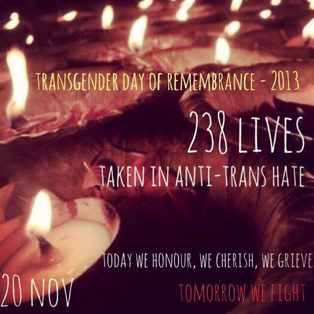 An image showing candles reading 'transgender day of remembrance""
