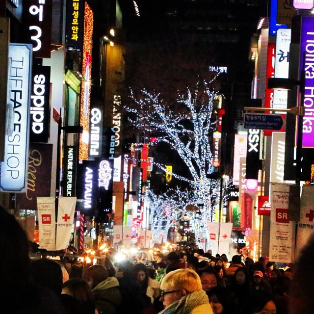 The winter wonderland of a Myeongdong Christmas is full of bright lights and consumptive fantasies.