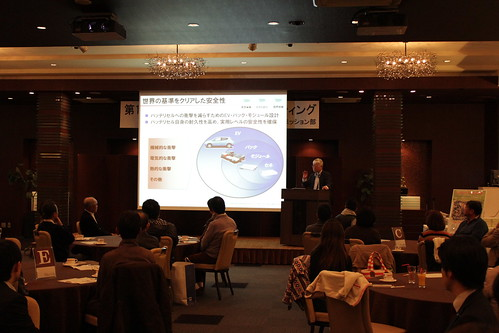福島日産 リーフオーナーズミーティングで講演する門田