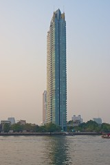The watermark condo seen from Asiatique - The riverfront by the Chao Phraya river in Bangkok, Thailand