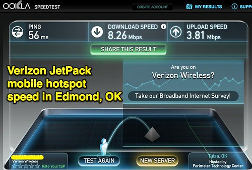 Verizon JetPack mobile hotspot speed in by Wesley Fryer ...