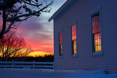 winter snow color me church sunrise reflections maine newengland harpswell orrsisland