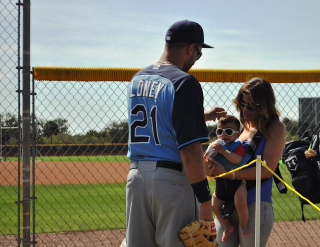 Tampa Bay Rays James Loney with Son and Wife Nadia, Port Charlotte, Fla., Feb. 23, 2014