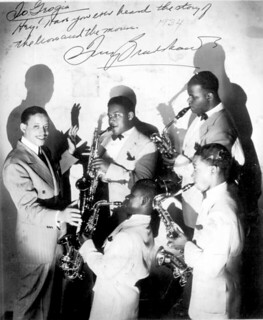 Tiny Bradshaw with saxophone players from his band