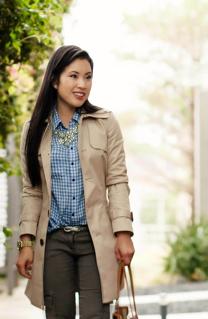 cute & little blog   petite fashion   spring casual classics outfit   khaki trench, gingham shirt, olive skinny cargo pants, crystal statement necklace
