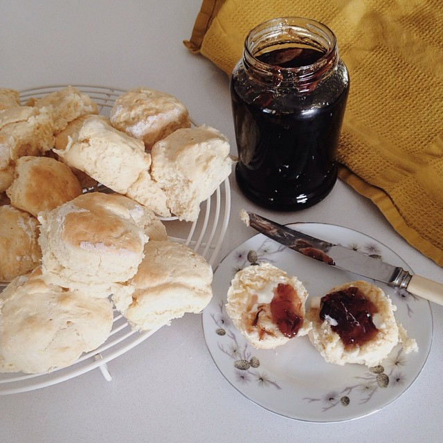 Sinfully simple scones with homemade Rosella jam for afternoon tea. #bakingisgoodforyou