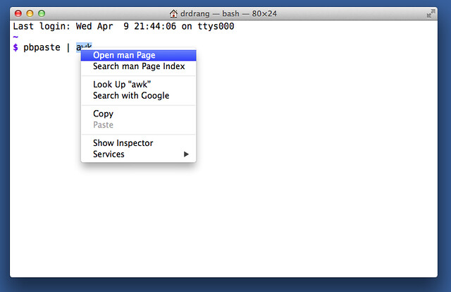 Terminal man page context menu