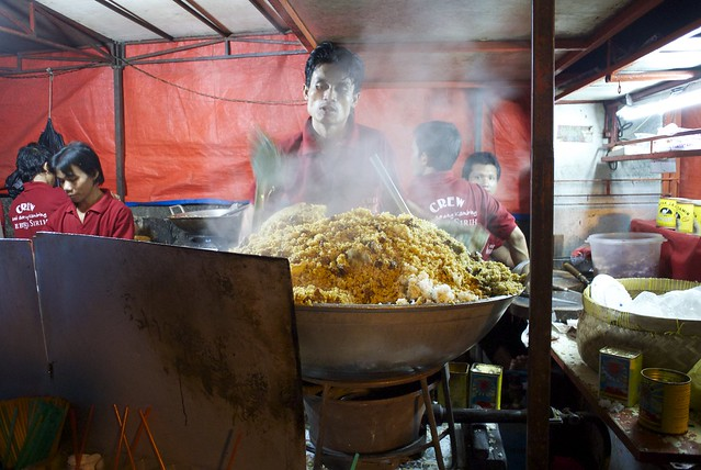 cooking fried rice in Jakarta