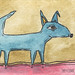 Aceo Original Dog Painting 1 by Roxanne Handelong (They Come Along)