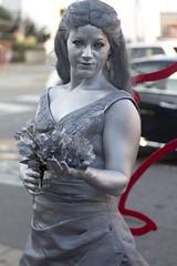 Silver Statue Lady - Virginia Beach Pacific Ave.  Beachstreetusa boardwalk painted