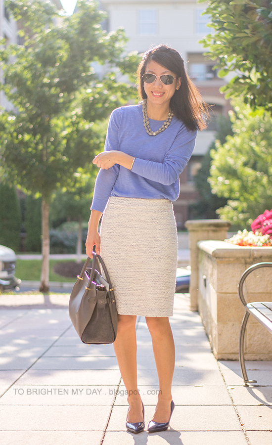 gray pearl wrapped necklace, cornflower blue sweater, tweed pencil skirt, gray tote bag, marine blue pumps