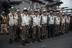 Senior ROK military leaders and their aides observe flight operations aboard USS Carl Vinson (CVN 70), March 20. (U.S. Navy/MC2 Sean M. Castellano)