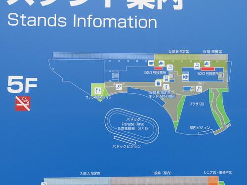 小倉競馬場の5階のフロアマップ