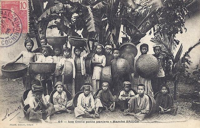 Saigon 1905 - Les coolis petits paniers - Marché de Saigon