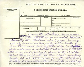 Waihi Strike Telegrams from Police Commissioner John Cullen, 9 November 1912 (2 of 5)