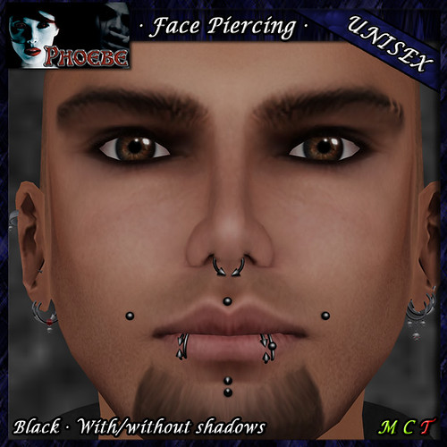 *P* Unisex Face Piercing P6 ~Black~