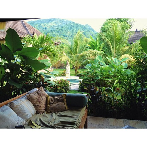 This has been my lounge spot while here for reading, resting, and skyping with my boys. #bali #grateful