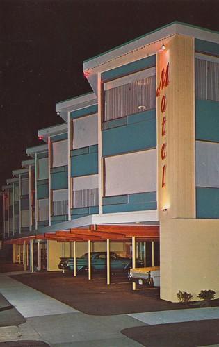 night vintage washington postcard motel portangeles uptown aaa