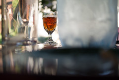 Shot glass with hard liquor