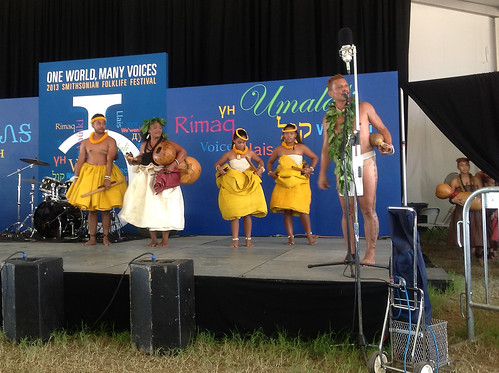 <p>Hawaii Community College Associate Professor Taupori Tangaro, wife Kekuhi Kanahele and their ohana share Hawaiian oli and hula with Smithsonian Folklife Festival audiences.</p>