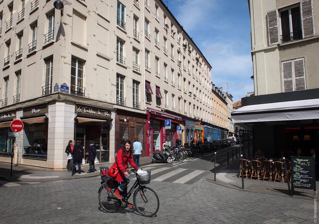 Paris, Girl in Red near Rue de la Roquette