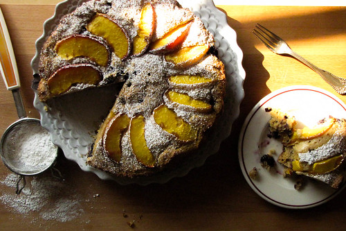 Peach and Blueberry Polents Breakfast Cake