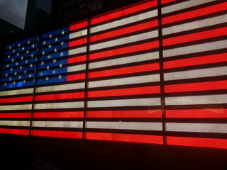 times square neon usa flag