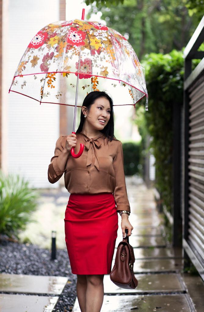 cute & little blog | loft bronze tie neck charmeuse top, red pencil skirt, chocolate brown pumps, vera bradley bubble umbrella outfit #ootd