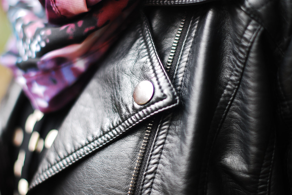 Biker jacket, polka dot blouse & galaxy scarf