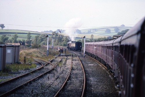 LMS 8P Coronation 4-6-2 46229 'Duchess of Hamilton' with 'hot box' on CME, Hellifield 18.9.1993 Scans864