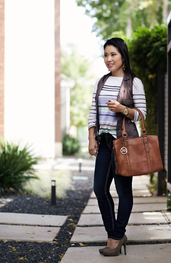 cute & little blog | striped shirt, cargo vest, silver skinny jeans, emilie m 'jane' outfit #ootd, petite fashion
