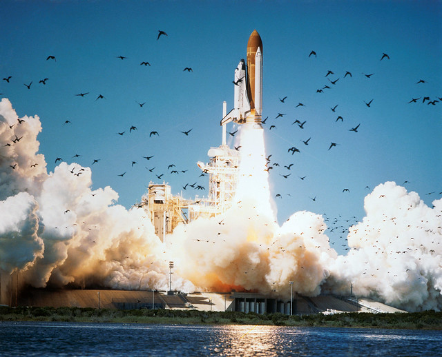 Space Shuttle Challenger Lifts Off