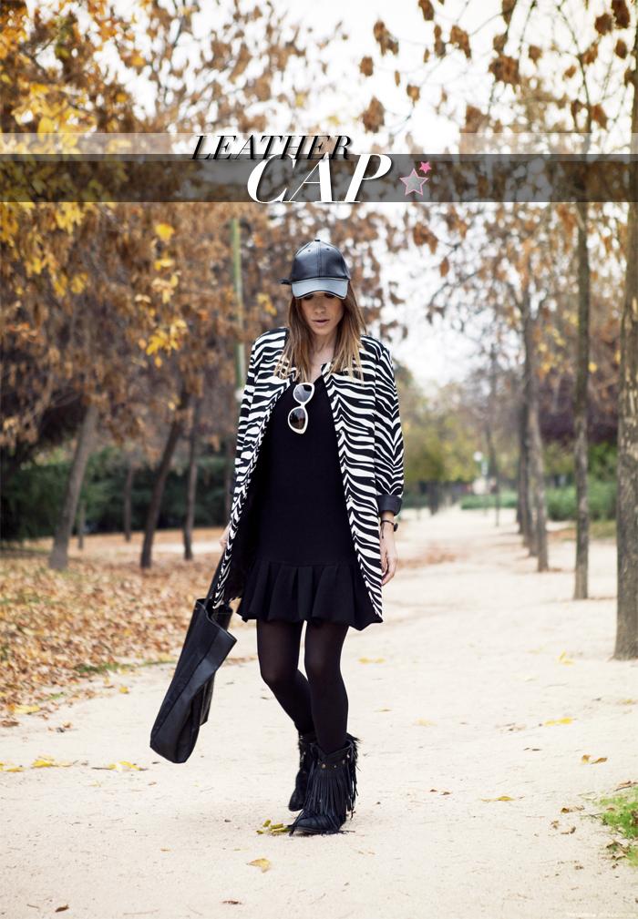 street style barbara crespo zara leather cap sheinside animal print coat stella rittwagen shopping bag sendra boots outfit fashion blogger