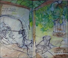 Stephen leyendo bajo la enramada. Vejer de la Frontera. La Bodeguita. 8 de noviembre, 2013.