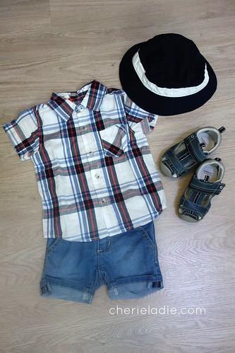 FOX Casual Checked Short Sleeves Shirt & Demin Shorts.